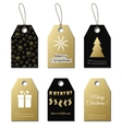 Christmas gift tags gold labels vector image