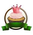 Cupcake with green ribbon vector image