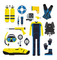 diver and set elements for underwater sport vector image