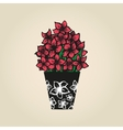 Hand drawn tattoo flowers narcissuses in vase vector image