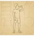Man drinking water vector image