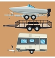 Trailer house and boat design vector image