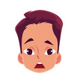 young man face surprised facial expression vector image
