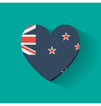 Heart-shaped icon with flag of New Zealand vector image vector image