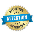 attention 3d gold badge with blue ribbon vector image