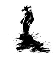 Fashion a woman in long dress ink vector image