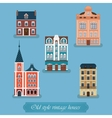 Old style vintage houses set Town city vector image