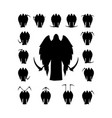 set winged death with a scythe silhouette vector image