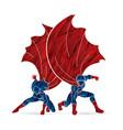 strong man and woman couple superhero landing vector image