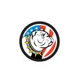 Bulldog Head USA Flag Circle Cartoon vector image