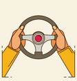 hands holding steering wheel in flat style vector image