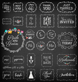 Vintage Wedding Frame Collection on Chalkboard vector image