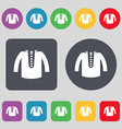 casual jacket icon sign A set of 12 colored vector image