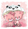 two cute cartoon kittens with umbrella vector image