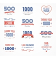 Thank you followers badges stickers and labels vector image vector image