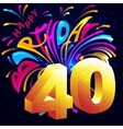 Fireworks Happy Birthday with a gold number 40 vector image
