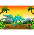 dinosaur cartoon in the jungle vector image
