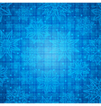 Christmas snowflakes and stars over blue checked vector image