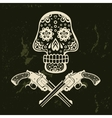 Hand drawn skull with guns vector image