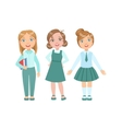 Girls In Blue Outfits Happy Schoolkids In Similar vector image