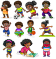 Black kids engaging in different activities vector image