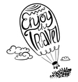 Enjoy travel callygraphic text in air balloon silh vector image