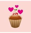 heart cartoon cupcake delicious cream cherry icon vector image