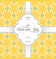 invitation card with islamic yellow pattern vector image