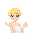 pretty blonde girl in white t-shirt vector image