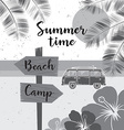 Summer time summer surf camp retro banner Surfing vector image