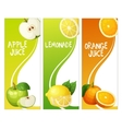 Three vertical banners with apple leon and orange vector image