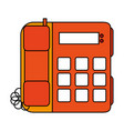 color image silhouette office telephone with wired vector image