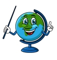 Cartoon globe character with pointer vector image