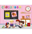 Children working in the classroom vector image