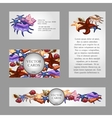 Four cards with images of starfish and seashells vector image