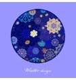 Winter circle design with golden and blue vector image