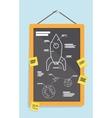 Cartoon blueprint of rocket ship vector image