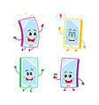 four cartoon mobile phone smartphone character vector image