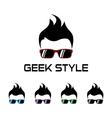 Geek style logo template vector image