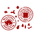 red christmas stamps vector image
