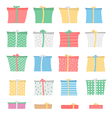 Set of gift boxes in different colors and patterns vector image