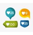 bubble heart social media communication icon vector image