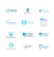 Set of logos dental care clinic dentistry for kids vector image