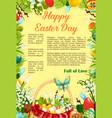 easter day egg hunt poster template design vector image vector image