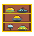 set flat cartoon shelf with ufo vector image