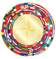 flags around compass vector image vector image