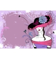 Lady in hat with flower - horizontal vector image vector image