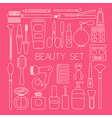 Beauty Set Icons in Pink Color vector image