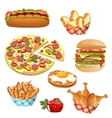 set of fast food products vector image vector image