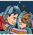 Retro love couple astronauts man woman vector image